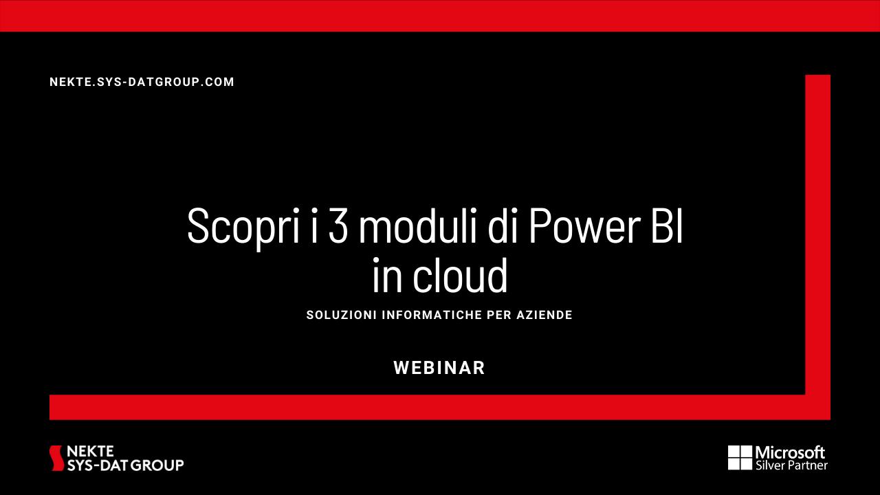 Scopri i 3 moduli di Power BI in cloud